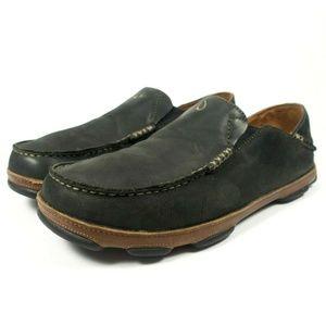 Olukai Moloa Black Leather Slip On Loafers